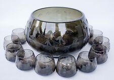 VINTAGE CRYSTAL Noritake Sasaki SMOKED Glass BAMBOO Punch Bowl Set 15 PIECE