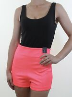 BNWT RIVER ISLAND fluro neon pink high waist stretch hotpants shorts size 12