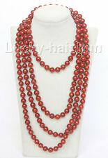 "natural 90"" 10mm round red sponge coral beads necklace j10508"