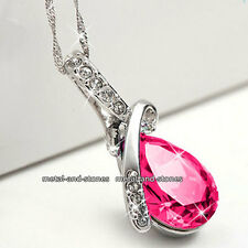 Unique Teardrop Pink Crystal Necklace Xmas Present Love Gifts For Her Wife Women