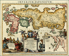 Reproduction 1740 Relando Japanese Japan Asia Old Antique Colour Color Map NEW