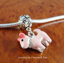 Chihuahua pink dog charm with paw slider bead for silver European charm bracelet