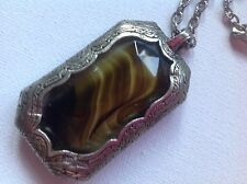 Vintage Miracle Pendant necklace, Scottish Celtic, Glass banded agate, signed