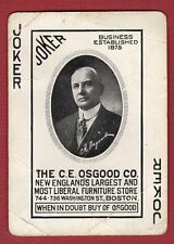 Single Swap Playing Card JOKER G63 OSGOOD STORE AD PORTRAIT ANTIQUE BOSTON OLD