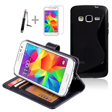 BLACK Wallet 4in1 Accessory Bundle Kit Case Cover Samsung Galaxy Core Prime LTE