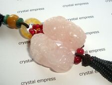 Feng Shui - Pair of Rose Quartz Pi Yao Tassel