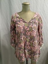 ANOKHI gray green blue floral embroidered cotton hippie boho tunic blouse XL