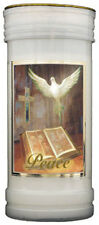 PEACE DEVOTIONAL HOLY CANDLE DOVE CROSS BIBLE - STATUES AND PICTURES ALSO LISTED