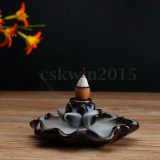 Black Ceramic Lotus Flower Incense Burner Holder For Cones & Sticks & Coil
