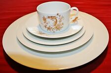 Vignaud Limoges France - Gold Exotic Bird - 41 pc. Dinner Service