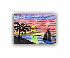 Original black ink pen & pencil drawing of SUNSET BEACH done by me, ACEO