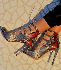 ZARA Snake Skin Leather Lace Up Heel Sandals Heels Boots Shoes UK 7 Euro 40