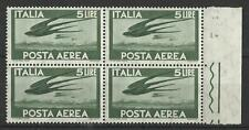 ITALY 1945 AIR MAIL 5L GREEN BLOCK MINT