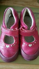 Clarks soft leather shoes dark pink infant size 5f