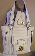 Coach 2pc Legacy Gigi Vanilla Leather Business Work Tote & Long Wallet A+