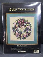 "DIMENSIONS GOLD COLLECTION Counted Cross Stitch Kit WREATH OF ROSES 16"" x 16"""