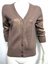 Nwt $1,405 Bottega Veneta Women's Cashmere Bronze V-Neck Sweater Size 40 US 4