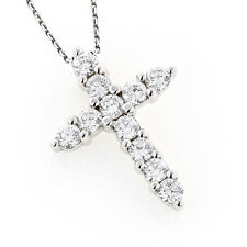 1.00CT PRONG SET ROUND DIAMOND CROSS PENDANT SOLID 14K WHITE GOLD CROSS NECKLACE