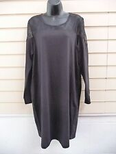 REDUCED  BLACK JERSEY & SHEER YOKE DETAIL SHIFT PARTY  DRESS UK 16 BNWT