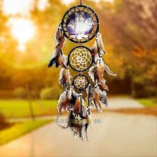 Handmade Dream Catcher with Feathers Wall Hanging Craft Ornament Wolf Decor Gift