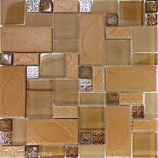 Sample Brown Leaf Decor Insert Copper Glass Blend Mosaic Tile Kitchen Backsplash