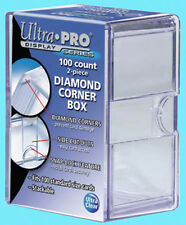 ULTRA PRO 100 COUNT DIAMOND CORNER 2-PIECE CARD STORAGE BOX NEW Case Sport Clear