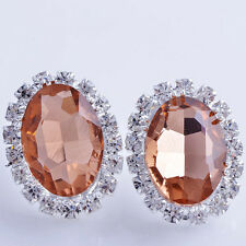 Korean Fashion Jewelry White GF Oval Champagne Crystal CZ Stud Clip On Earrings