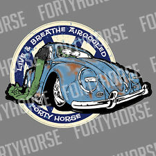 Volkswagen VW Vinyl Stickers - Live and Breathe Aircooled Beetle