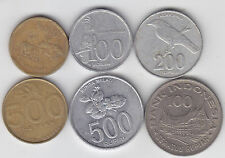 Indonesia -  100, 200, 500 Rupiah Coin Set  - 6 Different