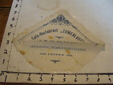 vintage TRAVEL paper: Napkin from CAFE-RESTAURANT ZOMERLUST, Leiden Netherlands