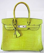MINT! Lovely Hermes Birkin 30 cm VERT ANIS Grass Green Tote Bag Porosus Croco