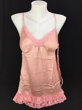 Victoria's Secret Silk Collection Babydoll Lingerie Set Pink Camisole Thong Med