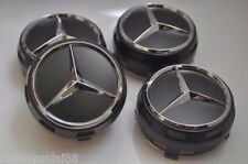4 x AMG Mercedes Benz Gray Alloy Wheel Centre Caps Fit all Alloys With 75mm Cap
