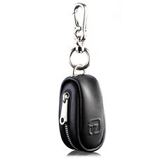 Unisex Genuine Leather Car Key Case Tag Chain Holder Cover With Zipper Closure