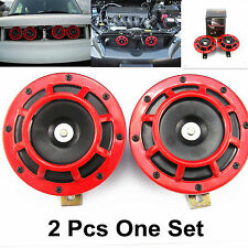 2 Pcs Red Grille Mount Super Tone Loud Electric Blast Compact Universal Horn KIT