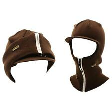 Winter 2 in 1 Beanie Visor Skull Cap Hat Ski Snow Board Zipper Face Mask Brown