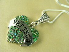 VETERINARY, VET  TECH GREEN SPARKLING ENAMEL  HEART WITH SILVER CHAIN NECKLACE
