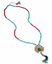 "Betsey Johnson ""Boho Gold-Tone Beaded Tassel Peacock Long Length Necklace $85"