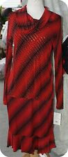 DESIGNER MIRASOL BLACK RED SLINKY SKIRT SUIT COWELL NECK SIZE S ACETATE SPANDEX