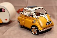 BMW ISETTA + TRAILER tin toy tinplate car blechmodell auto voiture en tole