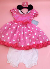 disney MINNIE MOUSE COSTUME & Ears Headband with blomers Age 7/8 years