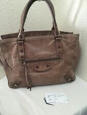 BALENCIAGA Pleine Fleur Aniline Brown Leather Pewter Tote Double Handle