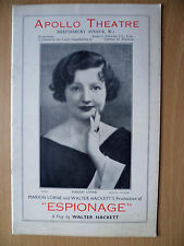 1935 Apollo Threare Programme: ESPIONAGE by Walter Hackett