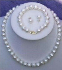 7-8mm Genuine Natural White Cultured Pearl Necklace Bracelet Earrings Set