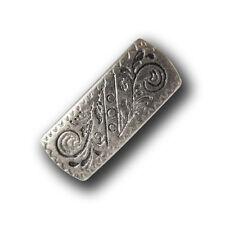 5 rechteckige altsilberfarb. Metall Knöpfe mit filligranem Muster (0637as-8x15)