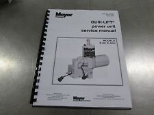 MEYER SNOW PLOW QUIK-LIFT E-60 E-60H FULL COLOR SERVICE MANUAL PART # 03038