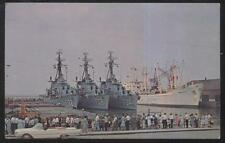POSTCARD CLEVELAND OH/OHIO U.S. NAVY DESTROYERS BARTON/HANK/PURDY AT DOCKS 1965