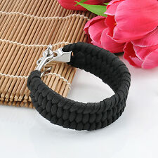 Black Paracord Bracelet Outdoor Survival Camping Hiking Steel Shackle Buckle