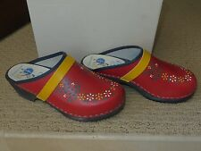 Women's  Gretel's Clogs Sweden Hand Painted Red Leather Euro 37 US 6.5-7 MIB