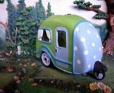 Solar Lime Green RV with Polka Dots MI 54071 Miniature Fairy Garden Dollhouse